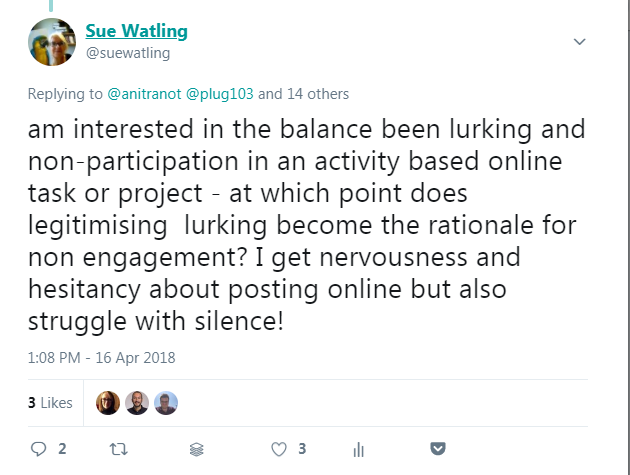 tweet about struggling to deal with silence as an online tutor