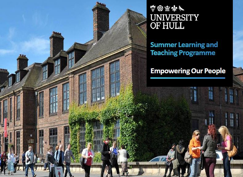 Image showng the University of Hull Venn Building with students in the forefront