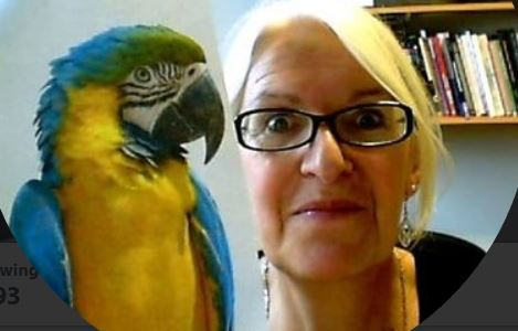 sue watling with a parrot