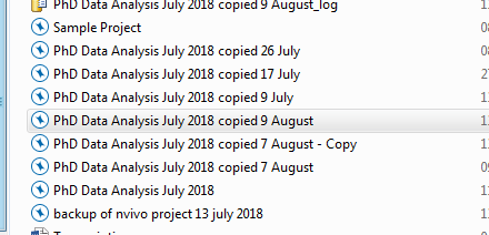 image showing a list of backed up Nivo files