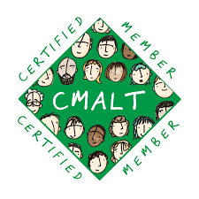 CMALT logo green square filled with drawings of faces