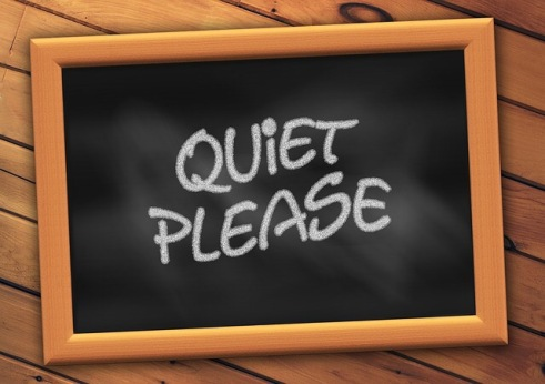 backboard sign sayiing Quiet Please