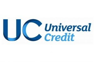 logo for Universal credit, blue letters on whit background