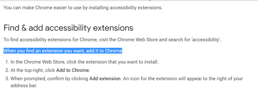 Chrome instructions for finding accessibility extensions