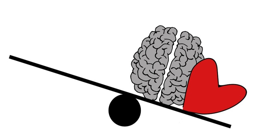 drawing of a seesaw with a cartoon grey brain and red heart