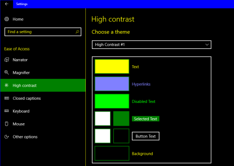 Windows High Contrast colors theme