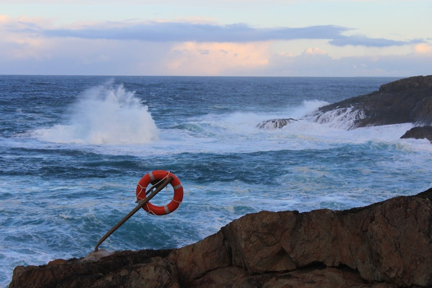 life ring against a stormy sea
