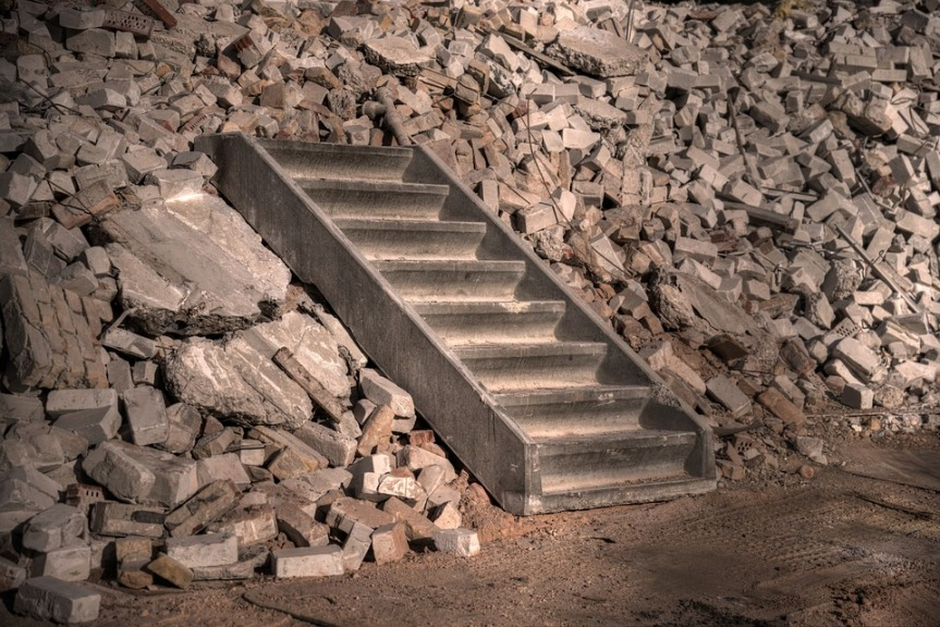 image showing steps on a pile of rubble