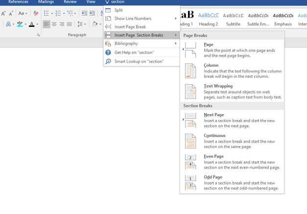 image showing the section breaks menu in MS Word