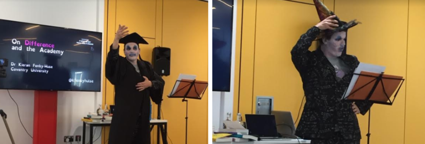 Images showing Kieran Fenby-Hulse performing his academic cabaret