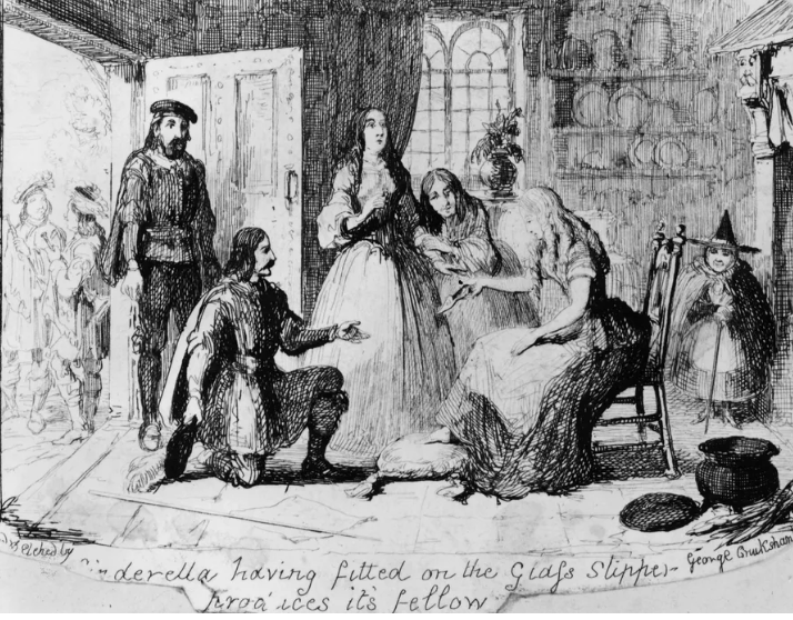 "Cinderella, having tried on the glass slipper, produces its fellow. Etching by George Cruikshank as an illustration for Grimm's ""Aschenputtel."" (Photo by Hulton Archive/Getty Images)"