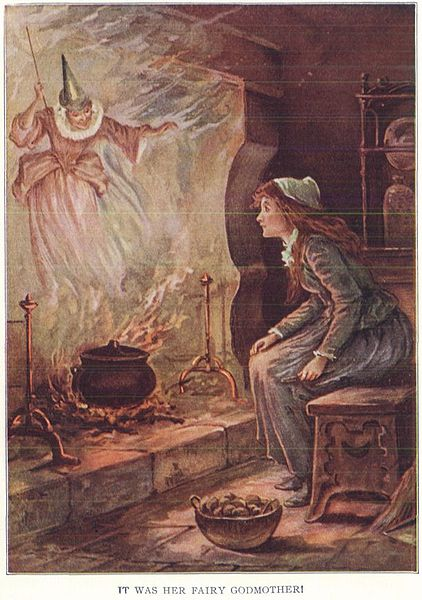 image of cinderells in front of the fire with the fairy godmother appearing